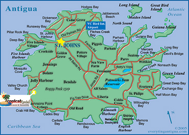 Map of Antigua - Location for Tropical Rentals